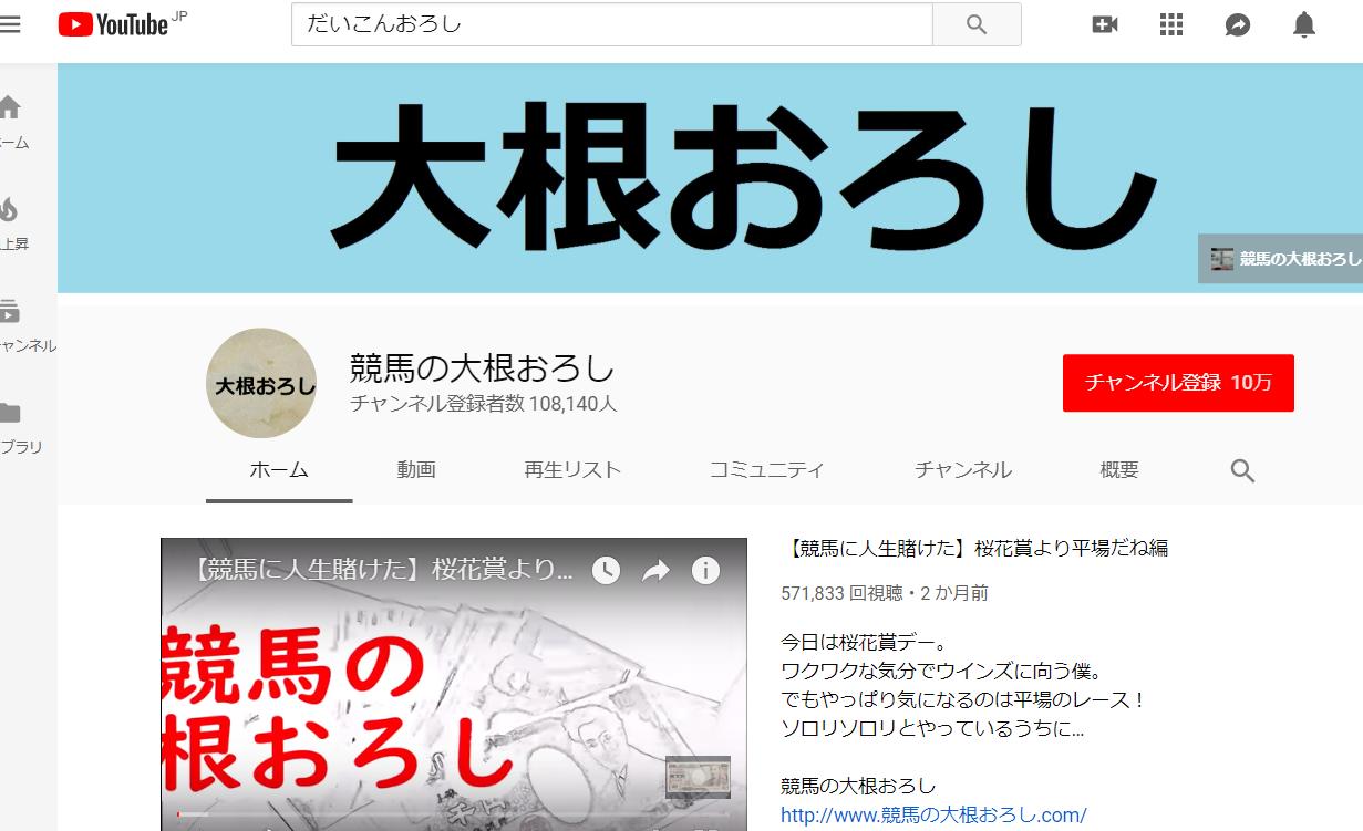競馬の大根おろし(YouTube)の口コミ・評判・評価